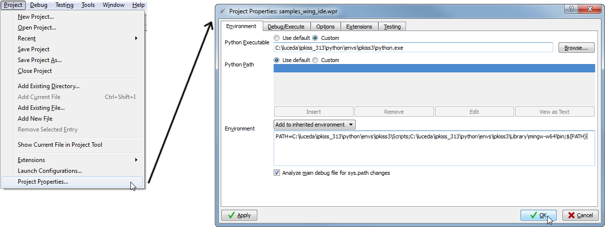 Setting up the editor environment in Wing IDE — IPKISS 3 1